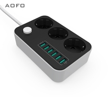 AOFO Network filter 3 Outlet Surge Protector Power Strip with USB Charging 6 Ports 5 4A