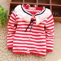Free shipping 2017 Spring New baby Clothes Striped Cotton Long-Sleeved Tees Baby Girls Cardigan A093