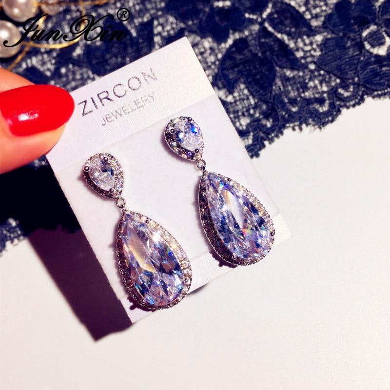 JUNXIN Vintage Water Drop Dangle Earrings For Women White Austrian Crystal Earrings Silver Color Wedding Earrings Jewelry