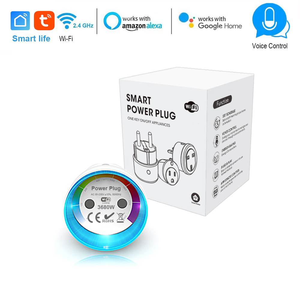 Wifi Smart Socket EU Plug 3680W 16A Poewr Energy Monitoring Outlet Timer  Switch Voice Control Work with Alexa Google Smart life