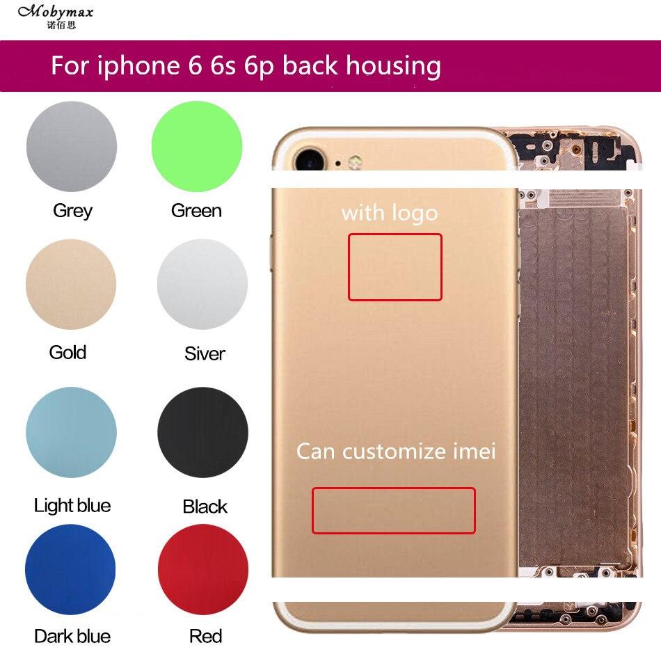 Cubierta trasera para iphone 6 metal cubierta de batería para iphone 6s 6 p marco vivienda media chasis caso cuerpo puede personalizar imei