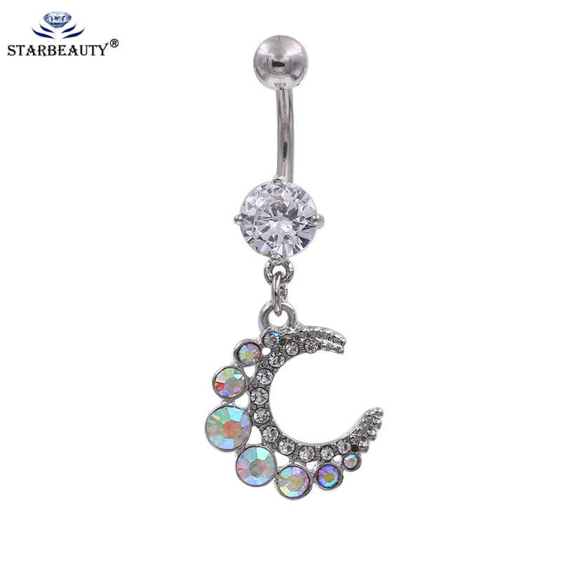 316L Surgical Steel AB Color Stylish Silver Moon Pendant Turtle Charm Tortoise Navel Ring Body Piercing turtle bodyjewelry