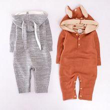 Moda outono inverno crianças macacão de bebê 100% algodão de malha bebê menino roupas romper do bebê elisabetanos coelho da raposa dos desenhos animados