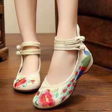 Wegogo Vintage Women Flats Old Peking Shoes Chinese Flower Embroidery Comfortable Soft Canvas Dance Ballet Shoes Plus Size 41