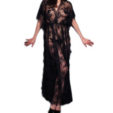 Baby doll sexy lingerie Solid Black Long gown lingerie