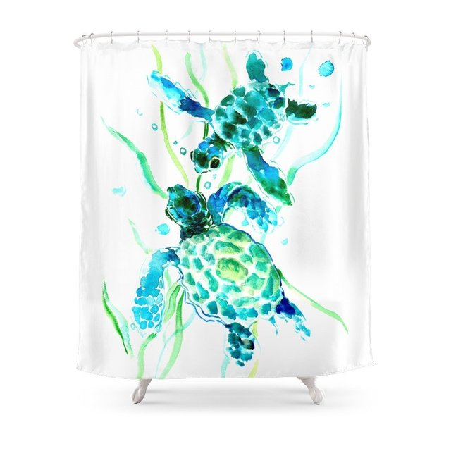 Sea Turtle Shower Curtain Polyester Fabric Bathroom Home Decoration Waterproof Print Curtains With Hooks
