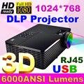 Alto Brillo 6000 ANSI DLP Proyector 3D full HD Cine PC DVD Digital 1080 P de Video HDMI USB Para la Educación Pizarra eléctrica