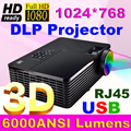 High Brightness 6000ANSI DLP 3D Projector full HD Cinema PC DVD Digital 1080P Video HDMI USB For Education Electric Whiteboard