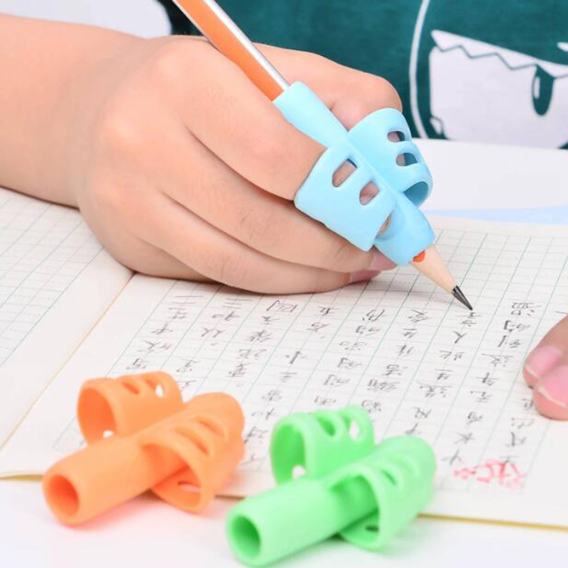 Two-Finger Pen Holder Children Writing Pencil Bracket Pan Practice Silicone Grip To Help Students Finger Positioning Device