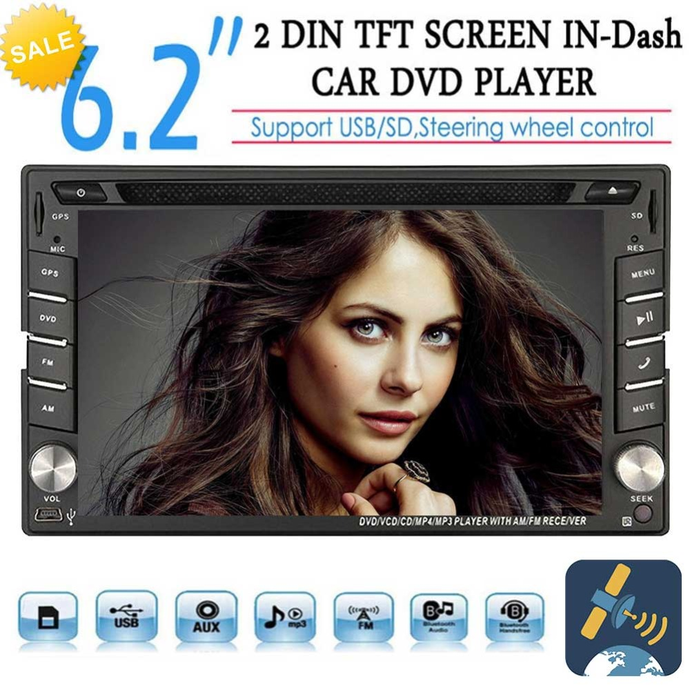 EinCar touch Screen Universal Double 2 Din Bluetooth In Dash Car CD DVD Player GPS Radio SWC USB RDS AM/FM Car Stereo Receiver universal 6 2 touch screen car dvd player 2 din car radio stereo with fm am usb sd bluetooth tv without gps