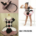 EMS DHL Бесплатная Доставка NEW! туту принцесса с коротким рукавом платья checker балетное платье аксессуары для волос pettiskirt dance party одежда