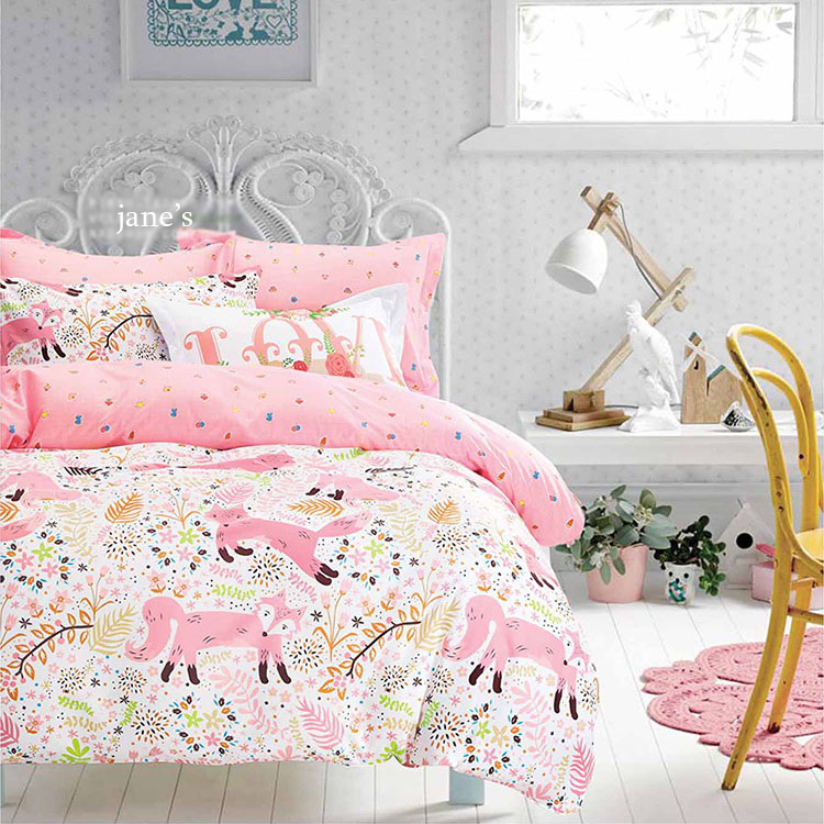 New Arrived Pink Fox Bedding Fabric Extra Wide 235cm