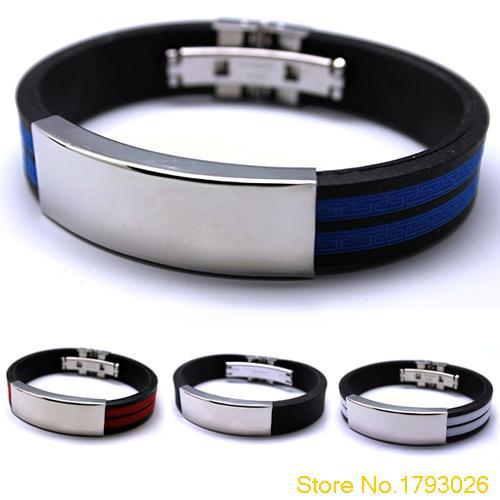 Mens Stainless Steel font b Bracelet b font Rubber Black Multi colour Fashion jewelry Silver Bangle
