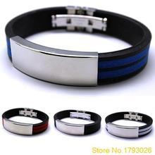 Mens Stainless Steel Bracelet Rubber Black Multi colour Fashion jewelry Silver Bangle 4TRM