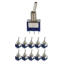 10 Pcs AC 125V 6A Amps ON/ON 2 Position DPDT Toggle Switch & 3-Position SPST Latching Mini 125VAC 3A 250VAC 1
