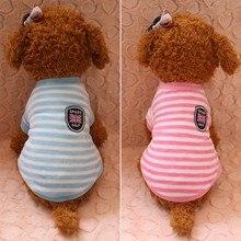 Рубашка для маленьких домашних животных, кошек, собак, с короткими рукавами, фланелевая модная зимняя теплая одежда в полоску, чихуахуа, померанский