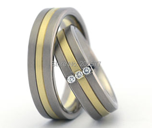 Ebay Hot Selling Bicolor Titanium Bridal Wedding Band Rings Sets