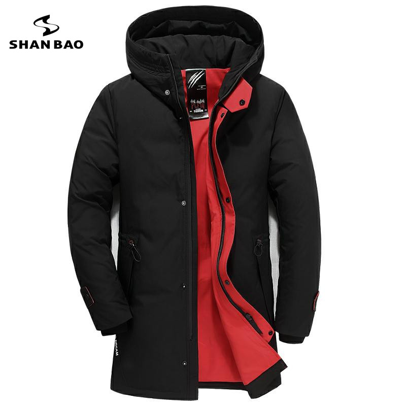 winter new style simple fashion letter embroidery men's hooded   down   jacket zipper pocket thick warm long   down     coat   black red