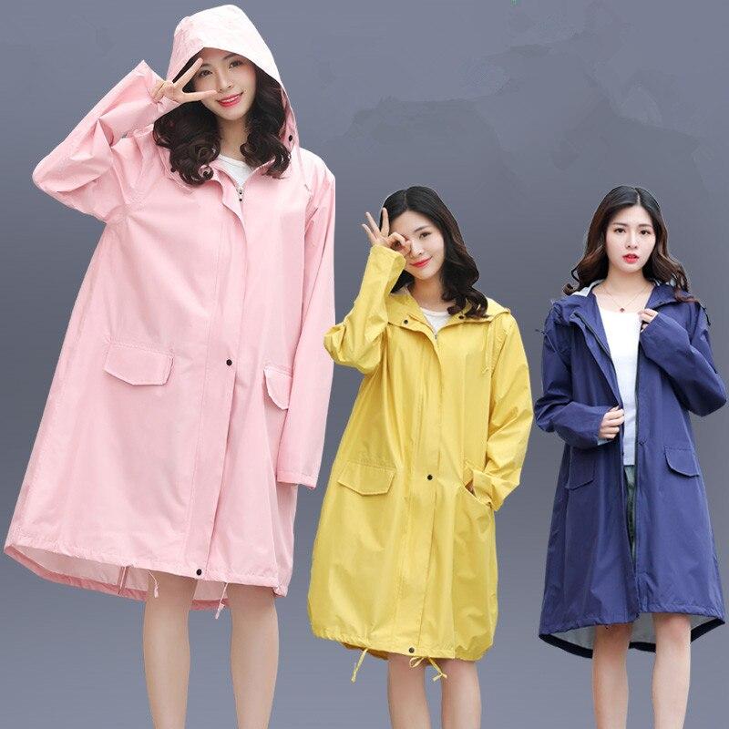 Longa Capa de Chuva Mulheres Homens Jaqueta Impermeável com capuz Casaco de Chuva Ponchos manto Feminino Chubasqueros Impermeables Mujer