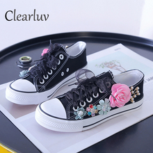 Summer Sneakers Wedges Canvas shoes Womens casual handmade custom Three-dimensional sequins Flowers White Flat