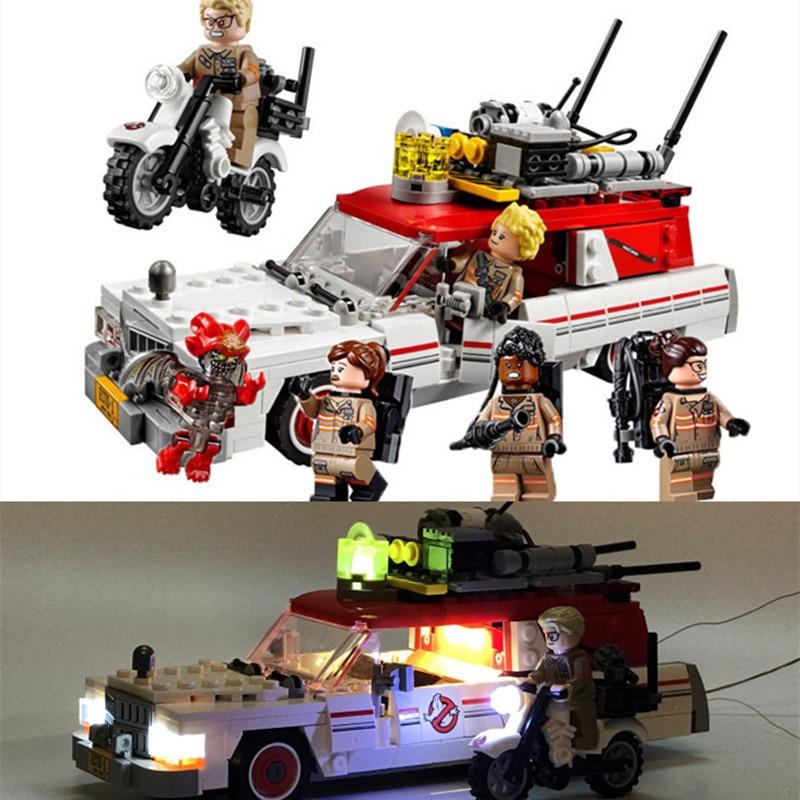 Ghostbusters ecto 1 & 2 led ضوء كتل بناء مجموعات الطوب يحدد الفيلم الكلاسيكي نموذج للأطفال اللعب هدية legoings الأعجوبة متوافق