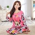 LOW Price 2016 Spring & Autumn Long Sleeve Pajamas For Women Thin Milk Silk Lovely Cartoon Girl Pyjamas Women Cloth FreeShipping