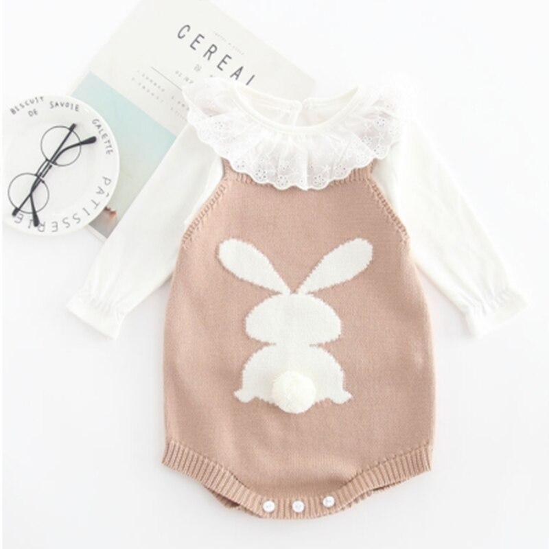 2019 кролика на весну-осень вязаные комбинезоны комбинезон из одного предмета; Детская зимняя куртка для маленьких девочек, без рукава для девочек комбинезоны наряд Одежда