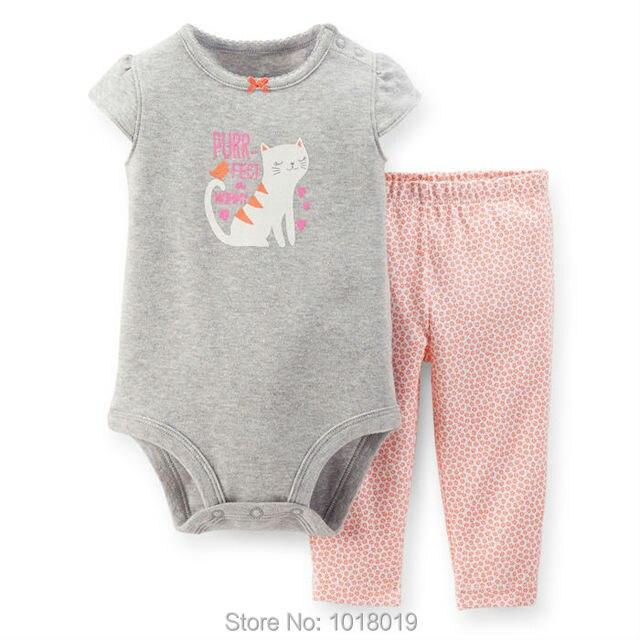 New 2017 Brand Quality 100% Cotton Newborn Baby Girls Bodysuit Clothing Set Short Sleeve Clothes Baby Girls Bodysuit Sets Summer