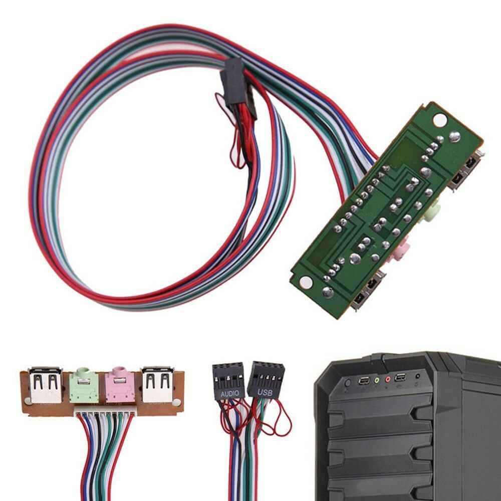 BAAQII 1x PC чехол для передней панели компьютера USB 2,0 Микрофон Наушники 3,5 мм аудио замена Прохладный для изношенных или поврежденных PC передние порты AA4117