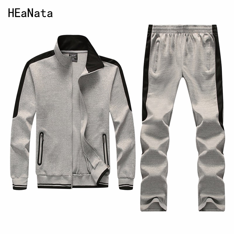 Sweatshirt Men Tracksuit Men Set Clothing Sweat New Brand Solid Zipper 2PCS Without Hoodie Jacket+Pants Casual Hoodie Men New
