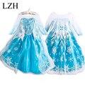 LZH vestido de Las Muchachas, la moda europea y Americana vestido de Elsa, copos de nieve vestido de lentejuelas, de dibujos animados vestido