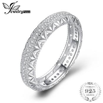 ab152984fcbe JewelryPalace Vintage hueco flor grabado filigrana platino CZ Anniverasry la  eternidad boda Banda