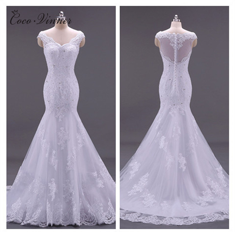 C.V Custom Made Vestido De Noiva Vintage Mermaid Wedding Dress 2019 Sleeveless Illusion Mariage Lace Wedding Dresses gown W0002