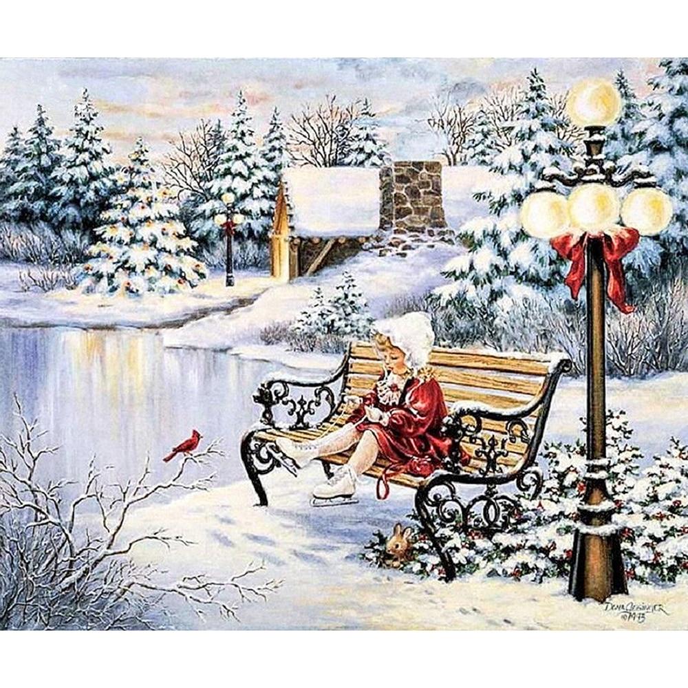 Винтажные картинки зимние пейзажи