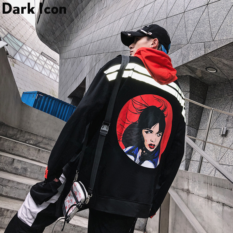 Dark Icon Girl 3M Reflective Hip Hop Hoodie Men Pullover Front Pocket Men's Sweatshirts And Hoodies Streetwear Hooded Men