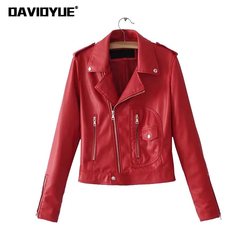 Spring Faux PU Leather Jacket women coat Winter Red Black zipper Motorcycle coat Street long sleeve Biker Jacket 2018
