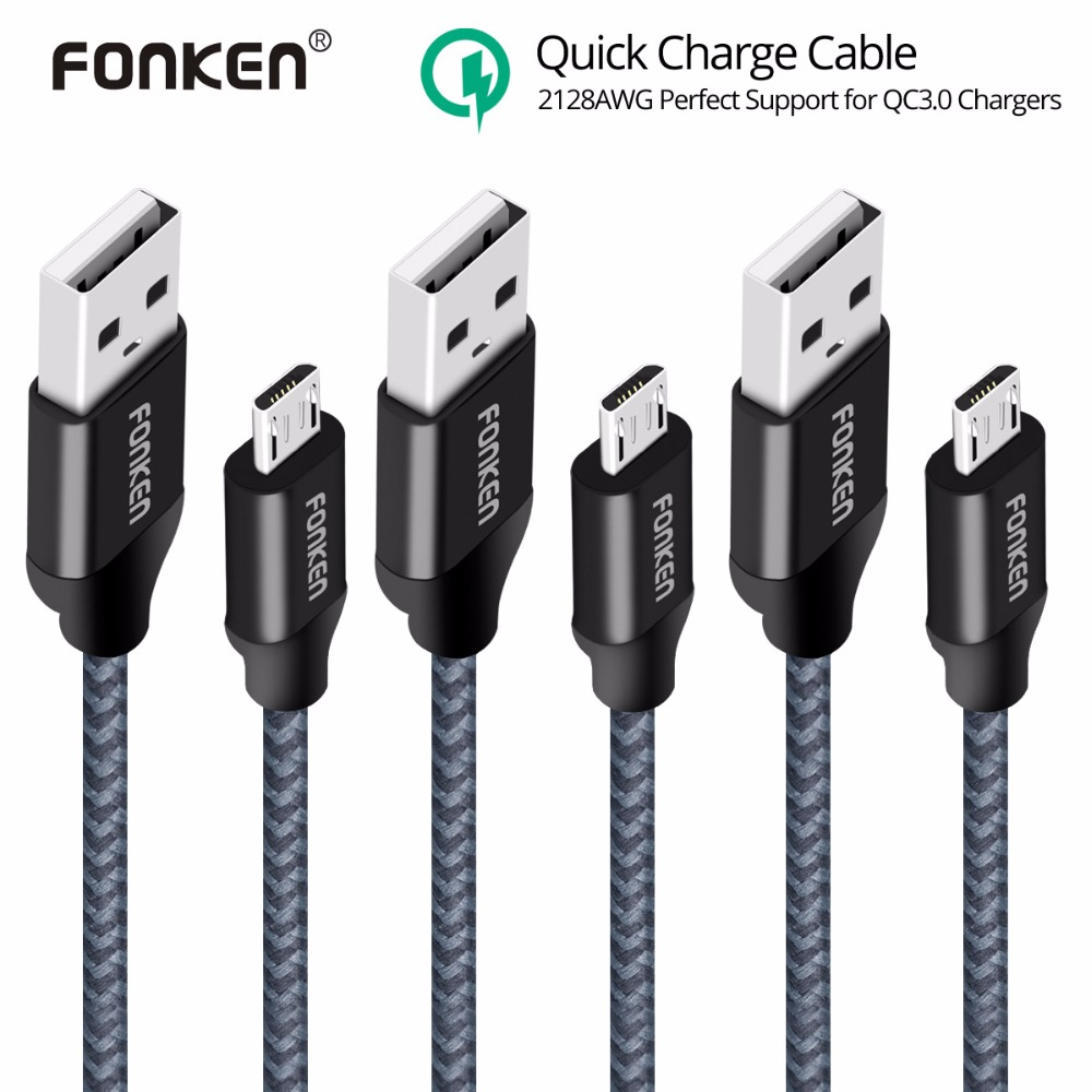 3PCS FONKEN Micro USB Cable Quick Charger Cable 2128AWG QC3.0 2.4A Fast Charging Nylon Braided Data Cable for Smartphone