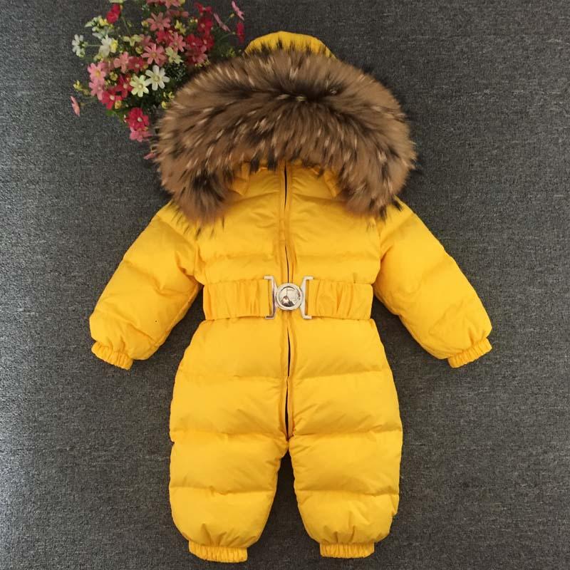 1~5 Years Russian Newborn Baby Girls Winter Raccon Real Fur Down Romper Boys Infant Onesie Bebe Snowsuit Skisuit  Kids Catsuit