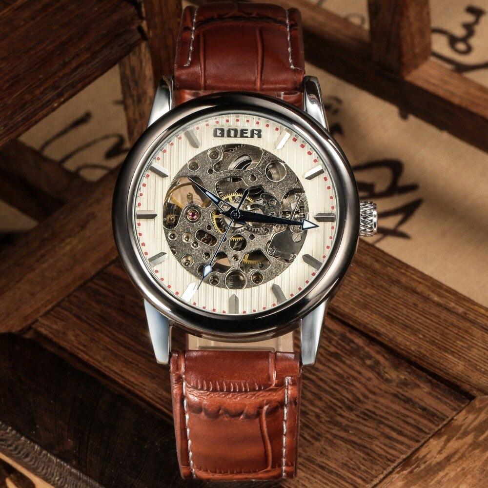GOER brand Men s leather wrist watch sports waterproof mechanical Automatic male Luminous Skeleton Watch