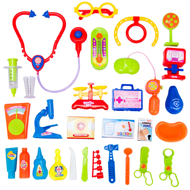 New 30PCS Pretend Play Role Play Doctor Toys Set Childrens Simulation Medicine Box Medical Equipment Toys Early Education