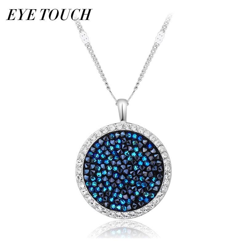 EYE TOUCH Crystals From Swarovski Austrian Rhinestone Pendants Women Necklaces Jewelry Elegant Fashion Blue Bijous Sexy Female