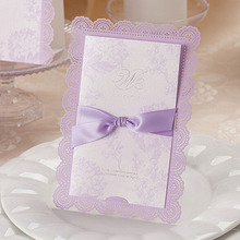 50pcs Purple Laser Cut Wedding Invitation Card With Customized Printing With Ribbon Envelopes Seals Party Supplie