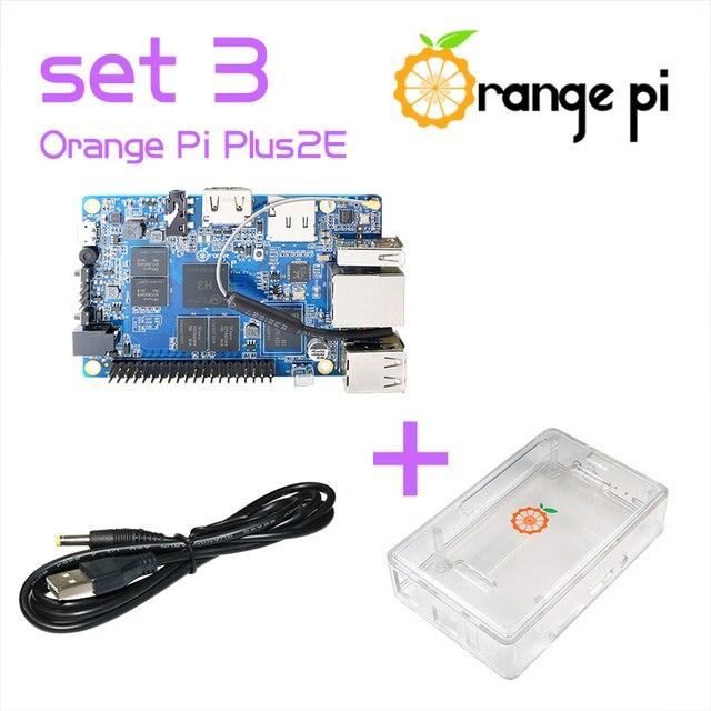 Orangeパイプラス2e set3:パイプラス2e +透明アクリルケース+ usbにdc電源ケーブルサポートubuntu、debianビヨンドラズベリー