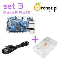 Orange Pi Plus 2E SET3: Pi Plus 2E + Transparent ABS Case+ USB to DC Power Cable Support Ubuntu, Debian Beyond Raspberry
