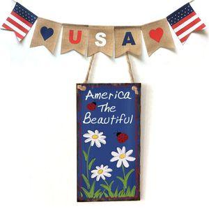 Image 5 - 빈티지 나무 교수형 플라크 미국 아름다운 꽃 사인 보드 벽 문 홈 인테리어 독립 기념일 파티 선물