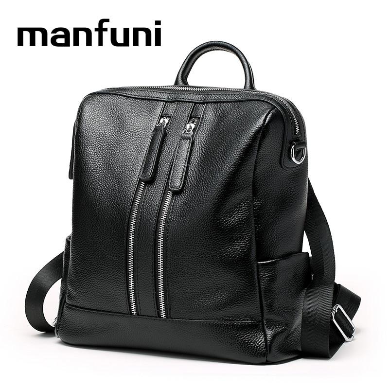 MANFUNI Genuine Leather Backpack Women Fashion Ladies Real Leather Daily Backpack Female Travel Double Zipper design 0805 купить корона кира касс