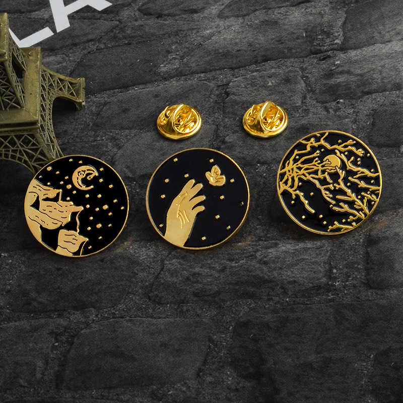 Dark Round Mountain Moon Star Branch Hands Butterfly Pins Enamel pins Lapel pins Badges Brooches Women Men Jewelry