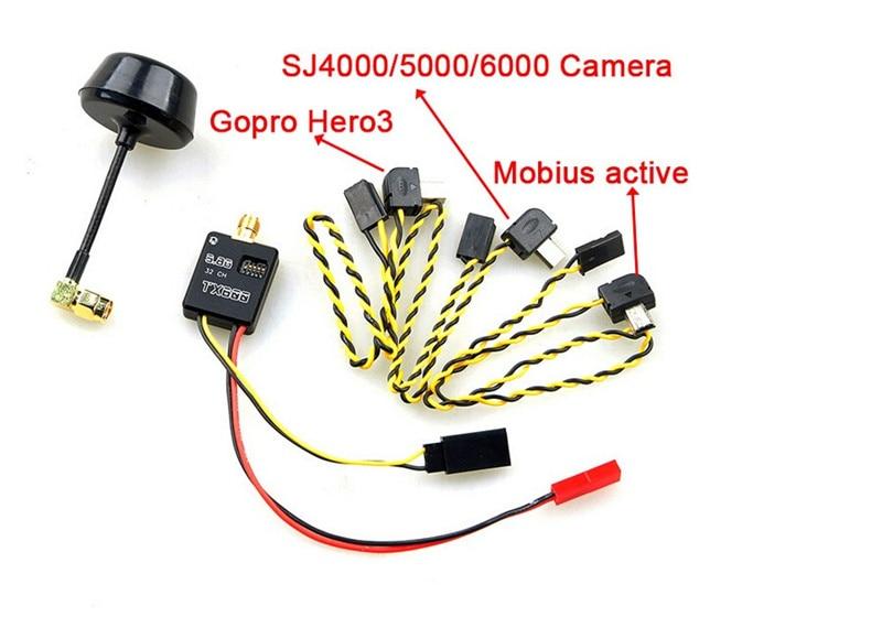 Mini Wireless Audio Video AV Transmitter 5.8G 600mW 32Ch A/V Module Mushroom Antenna for GoPro Hero SJ4000 5000 6000 Camera fpv 5 8g 600mw 32 channel wireless audio video a v transmitting receiving system combo module for fpv ts832 rc832