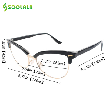 Semi-rimless Cat Eye Reading Glasses 5