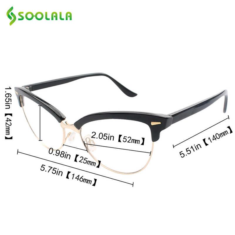 2285a682c6a2 ... SOOLALA Semi-rimless Cat Eye Reading Glasses Women Men Magnifying Eyeglasses  Presbyopia Reading glasses +